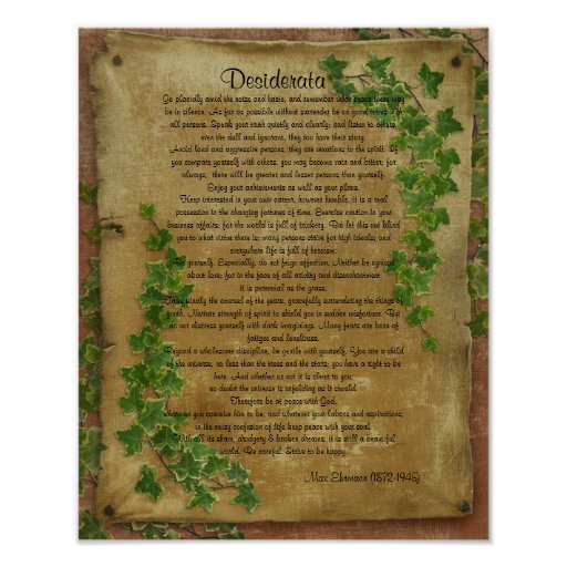 """Desiderata """"desired things"""",Ivy on parchment Posters"""