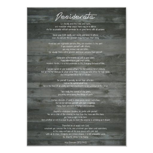 "Desiderata ""Desired Things"" on Concrete Wall Print"