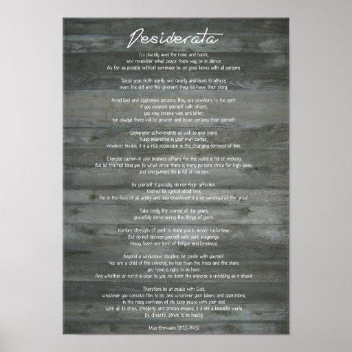 "Desiderata ""Desired Things"" on Concrete Wall Print"