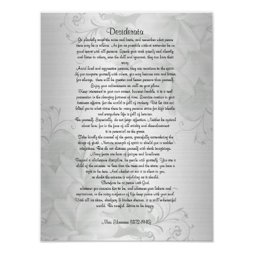 "Desiderata ""desired things"" poster"
