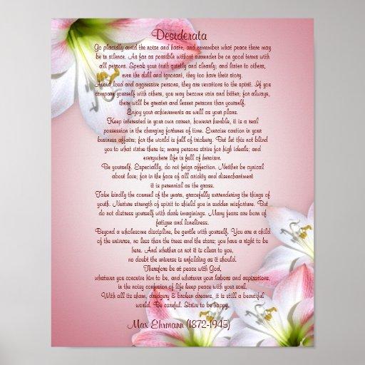 "Desiderata ""desired things"", prose floral print"