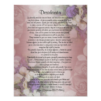 "Desiderata ""desired things"", prose on floral poster"