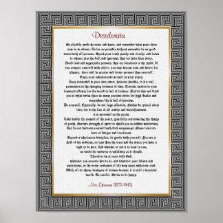 """Desiderata """"desired things"""", prose poster"""