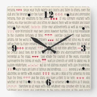 Desiderata Inspirational Poem Square Wall Clock