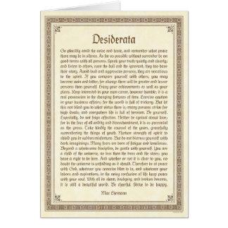 Desiderata note card, medieval design note card