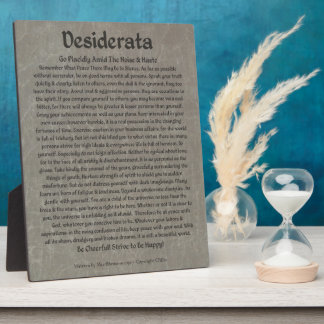 Desiderata on Grey Marble Photo Plaque