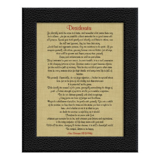 Desiderata on Linen leather look frame Poster
