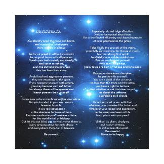 Desiderata on Pleiades Galaxy Canvas Print