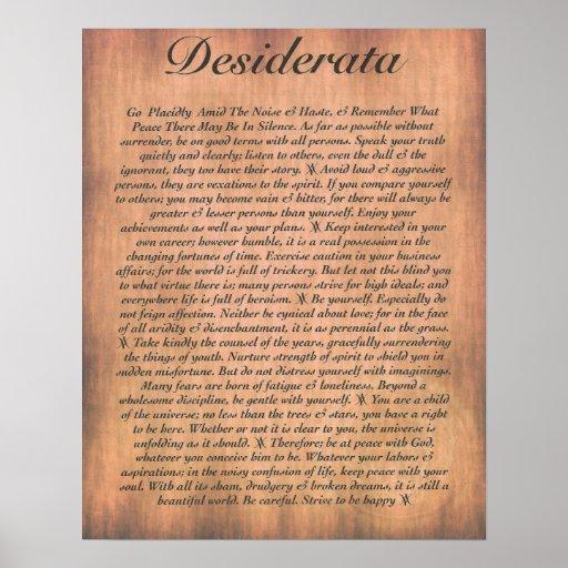 DESIDERATA on Wood Plank Poster