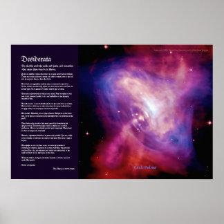 Desiderata Poem - Crab Pulsar Time Lapse Print