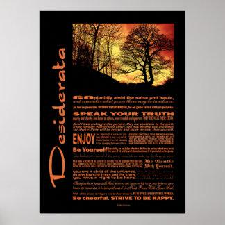 Desiderata Poem Evening Sunset Tree Print