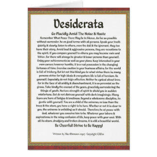 DESIDERATA Poem  Max Ehrmann-Mediaeval Calligraphy Card