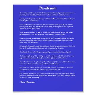 Desiderata poem on blue background photo print