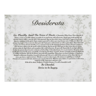 Desiderata Poem on Faded Antique Wallpaper Poster