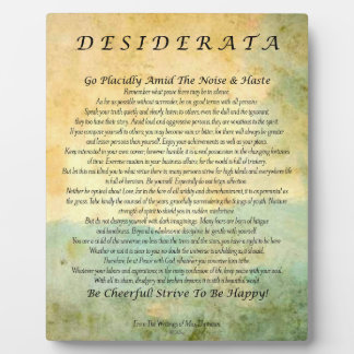 Desiderata Poem on Watercolor Forest Plaque