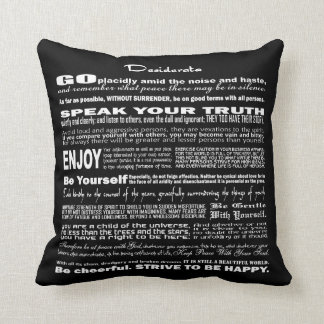 Desiderata Poem Poetry Poesy Verse Writing (Black) Cushion