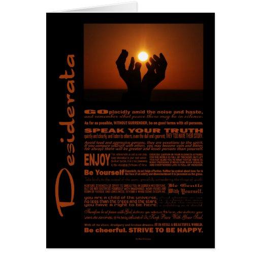 Desiderata Poem Praying At Sunsent Cards
