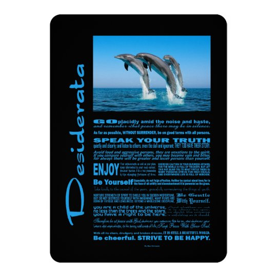 Desiderata Poem Up Up Up Dolphins Card