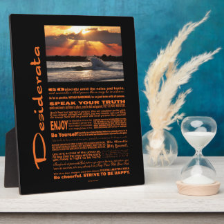 Desiderata Poem Wave Hugging Sunset Photo Plaques