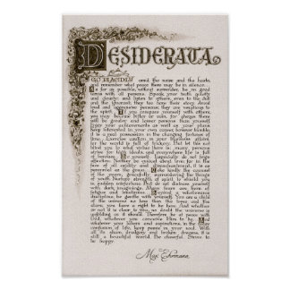 DESIDERATA Poster by Max Ehrmann=Charcoal