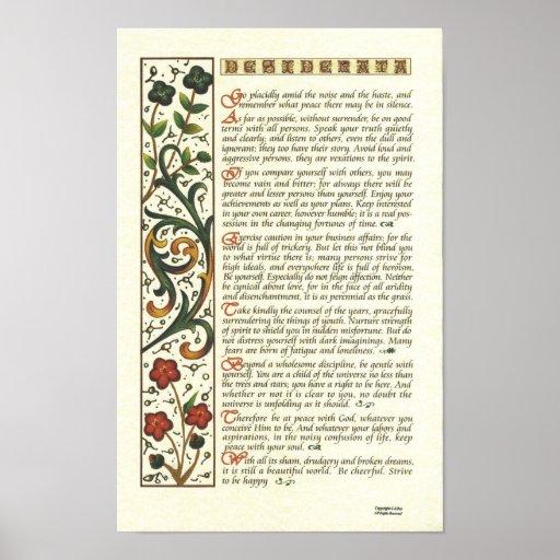DESIDERATA Poster by Max Ehrmann= Leaf Calligraphy