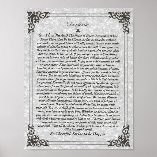 DESIDERATA Poster on Parchment