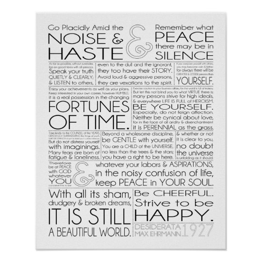 photograph about The Desiderata Poem Printable named Desiderata Print 16x20 upon Matte Paper