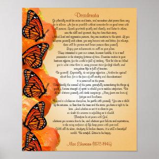 Desiderata prose Monarch butterflies Poster
