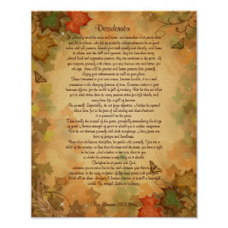 Desiderata prose on parchment Fall colours Poster