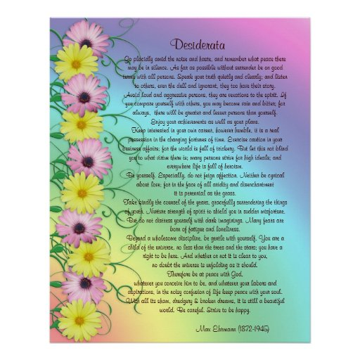 Desiderata prose rainbow colors posters