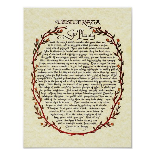 DESIDERATA with Wreath Trim Posters