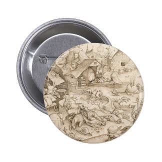 Desidia (Sloth) by Pieter Bruegel the Elder 6 Cm Round Badge