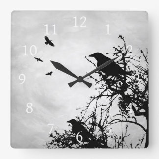 Design 43 Crow Bird Square Wall Clock