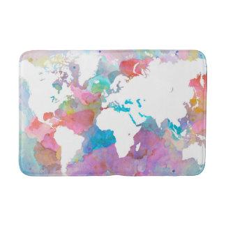 Design 48 world map pink blue bath mat