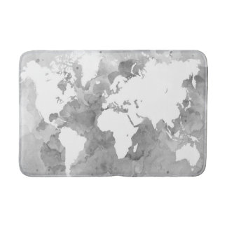 Design 49 grayscale world map bath mat