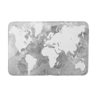 Design 49 grayscale world map bath mats