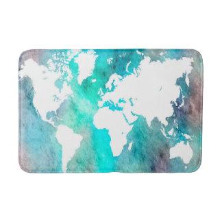 Design 62 World Map aqua turquoise Bath Mats
