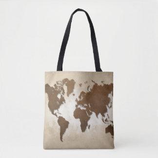 Design 64 brown world map tote bag