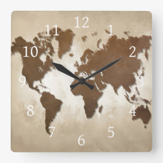 Design 64 world map square wall clock