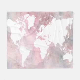 Design 66 pink world map fleece blanket
