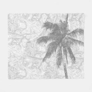 Design 67 grey palm tree fleece blanket