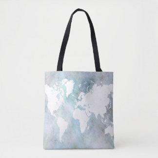 Design 68 world map blue tote bag