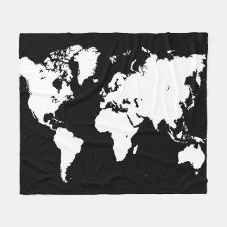 Design 69 black white world map fleece blanket