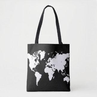 Design 69 world map black white tote bag