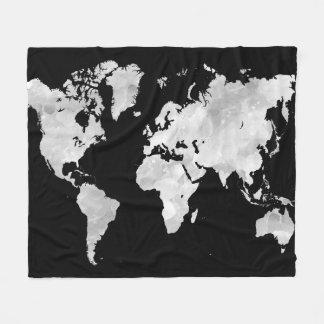 Design 70 black grey world map fleece blanket