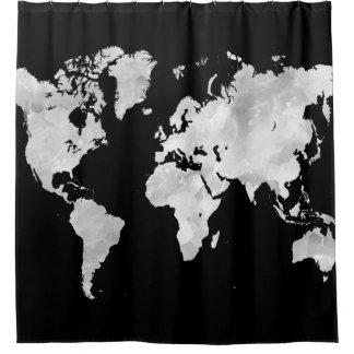 Design 70 Black Grey World Map Shower Curtain