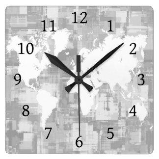 Design 71 Grey white World Map Wall Clocks