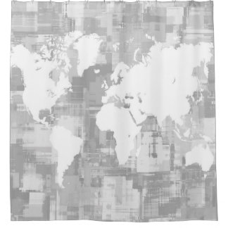 Design 71 World Map Grayscale Shower Curtain