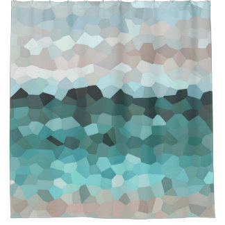 Design 86 aqua mosaic shower curtain