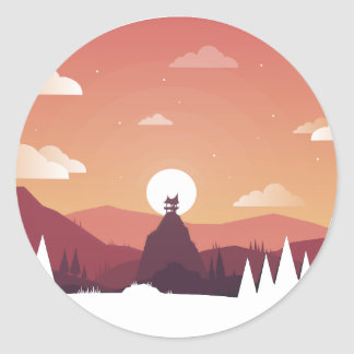 Design art hill hut landscape classic round sticker